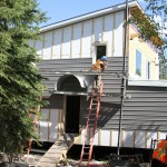gray siding on the NE home